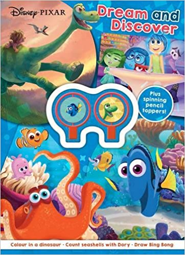 Disney Pixar DREAM AND DISCOVER colour in a dinosaur, count seashells with Dory, Draw Bing Bong Plus spinning pencil toppers!