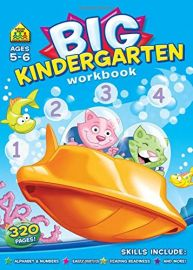 BIG KINDERGARTEN WORKBOOK. Ages 5-6, 320 Pages! Alphabet & Numbers, Early Maths, Reading readiness and more!